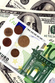 Hundred dollar and euro — Stock Photo