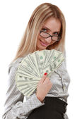 Girl with fan of dollars — Stock Photo