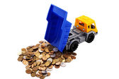 Toy truck loaded with coins — Stock Photo