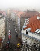 Prague street in the fog — Stock Photo