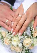 Church rings. Wedding day — Stock Photo