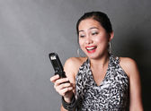 Happy Girl with Cellphone — Stock Photo