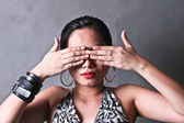 Lady Covering Eyes — Stock Photo