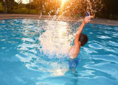 Water Splash Boy — Stock Photo