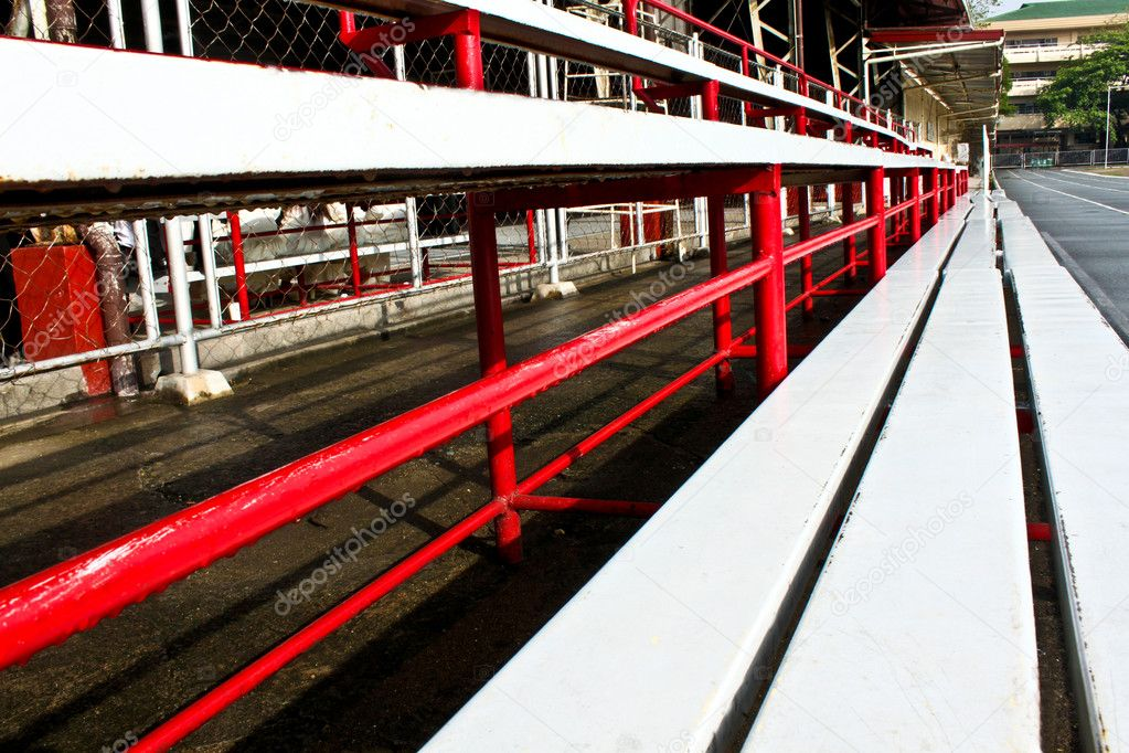 Empty stadium steel sets at a local private school  Stock Photo #9943131
