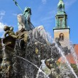 Neptune Fountain & Marienkirche, Berlin — Stock Photo