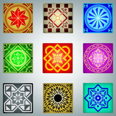 Retro kleurrijke ornamenten — Stockvector