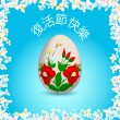 Happy Easter - Chinese text and painted easter egg — Stock Vector