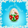 Happy Easter - Italian text, painted easter egg — Stock Vector