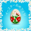 Happy Easter - Japanese text, painted easter egg — Stock Vector