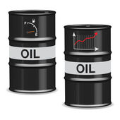 Oil crisis barrels on white background - English — Stock Vector
