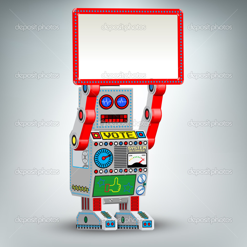 Funny retro robot vector illustration — Stock Vector #9420525