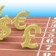 Running currency rates - editable vector illustration of dollar, euro, pound and yen - Imagen vectorial