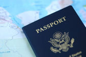 Passport & paper map — Stock Photo