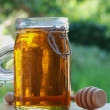 Jar of Honey with stir stick — Stock Photo