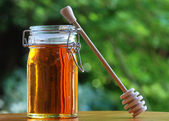 Jar of Honey with stir stick — Stockfoto