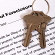 Foreclosure form & Housekeys — Stock Photo