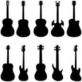 Set van gitaar silhouet — Stockvector