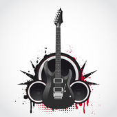 Electric guitar on grunge background — Stock Vector