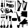 Set of musical instruments silhouettes — Stock Vector