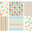 Vector set of different seamless pattern — Stock Vector