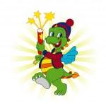Vector funny green dragon — Stock Vector