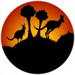 Stock Vector: Sunset with two kangaroos