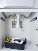 Washbasin plumbing fixtures — Stock Photo