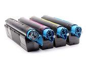 四个彩色激光打印机的碳粉盒 — 图库照片