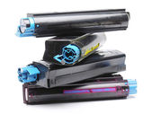 Four color laser printer toner cartridges — 图库照片