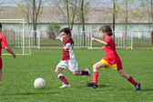 Kids soccer game — Stock fotografie