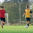 Girls playing soccer — Stock Photo #10212353