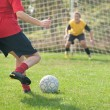 Kicking and Defending in soccer — Stock Photo #10212520