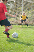 Kicking and Defending in soccer — Stock Photo