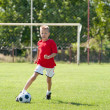 Child playing soccer ball — Stockfoto #9661566