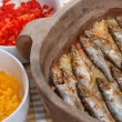 Roasted sardines with rice - Stockfoto