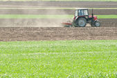 Tractor plowing the fields — Stock Photo