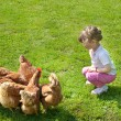 Girl and chickens — Stock Photo #9763097