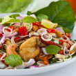 Stock Photo: Herb salad with deep fried fish and shrimp (Thai fusion and healthy food)