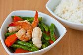 Thai food, Stir-fried asparagus with seafood — Stock Photo