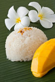 Thai dessert sweet sticky rice with mango — Stock Photo