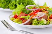 Thai sausage salad spicy-sour dressing — Stock Photo
