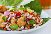 Herb salad with deep fried fish and shrimp (Thai fusion and healthy food) — Stock Photo