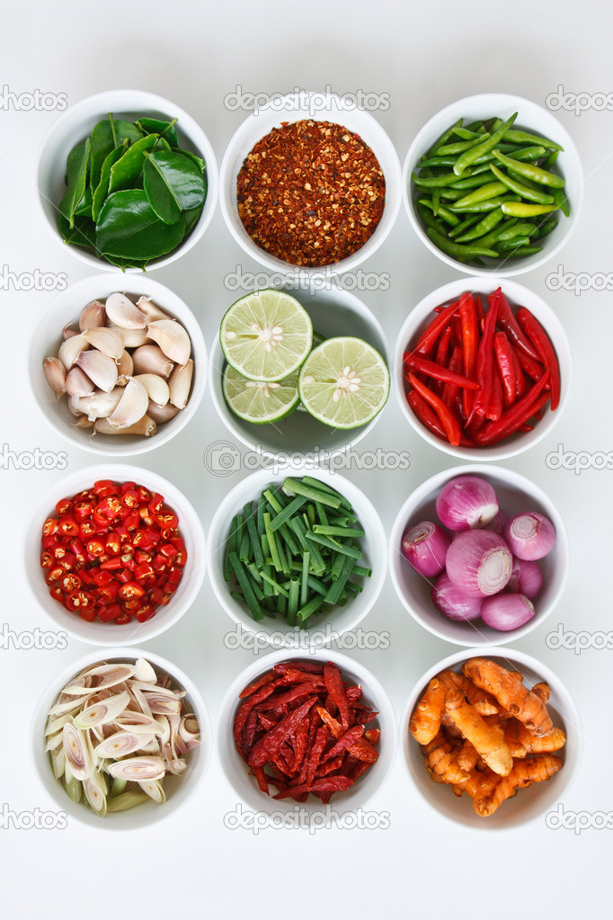 Herb and spicy ingredients for making Thai food  Stock Photo #9748510