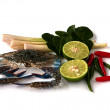 Blue crab  and vegetables — Stock Photo