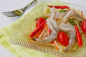 Thai food, green papaya salad with rare shrimp — Stock Photo