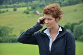 Young woman is calling — Stock Photo
