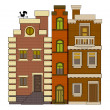 Stock Vector: Old fashioned houses