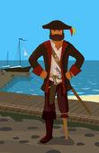 Rozzlobený pirát — Stock vektor