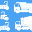 Vector silhouettes of building machinery — Stock Vector